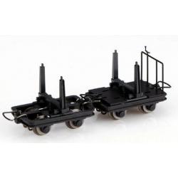 Set de 4 wagonnets à grumes, 2 avec freins