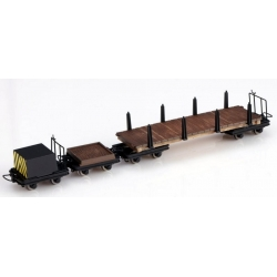 Set de wagons plat à ranchers, wagonnet plat et wagonnet de frein