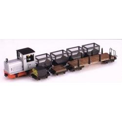 """Set de locotracteur diesel """"Gmeinder"""" gris argent + 7 wagons"""