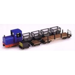 """Set de locotracteur diesel """"Gmeinder"""" bleu + 7 wagons"""