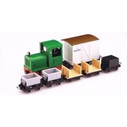 """Set de locotracteur diesel """"Gmeinder"""" vert + 6 wagons"""