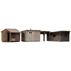kit à monter : set de 3 abris de jardin 1/87
