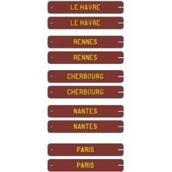 Plaques itinéraires Voitures Postales OUEST 1 - RAL 3005