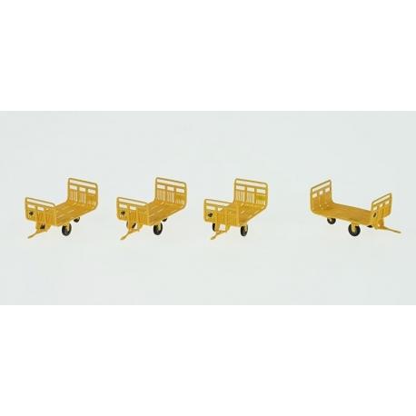 Set de 4 Chariots de Poste tubes Ep.IV Vert Jaune + marquages Hirondelle
