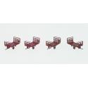 Set de 4 Chariots de Poste tubes Ep.III-IV Vert Brun PTT + marquages PTT
