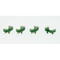 Set de 4 Chariots de Poste tubes Ep.IV-V Vert - JAUNE - Brun PTT + marquages enc