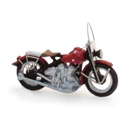 "Moto américaine ""Libérator"" rouge 1/87"