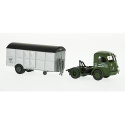 "Camion PANHARD Movic ""APTM"" Vert - Remorque UFR Fourgon Argenté"