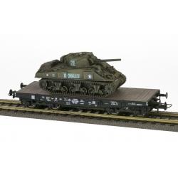 """2 DB - Porte-char SSyw 18447 SNCF Ep.IIIA noir, bogie Allemand + Sherman M4A2 """"ROMILLY"""" 2DB 501RCC 2Cie"""