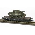 """2 DB - Porte-char SSyw 18445 SNCF Ep.IIIA noir, bogie Allemand + Sherman M4A2 """"WAGRAM"""" 2DB 501RCC 2Cie"""