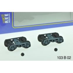 Set de 2 Bogies Y23 M - 4 Boites SKF - Gris clair