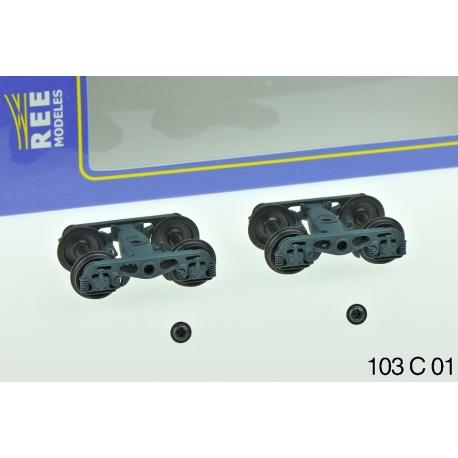 Set de 2 Bogies Y23 M - 4 Boites ISNR - Gris moyen
