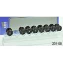 Set de 8 Essieux OCEM Roues Pleines D 1050 - Axe 24,3
