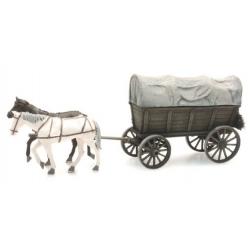 Chariot Tombereau à 4 roues et 2 chevaux