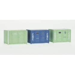 SET de 3 containers 72 (1 bleu et 2 verts CNC)