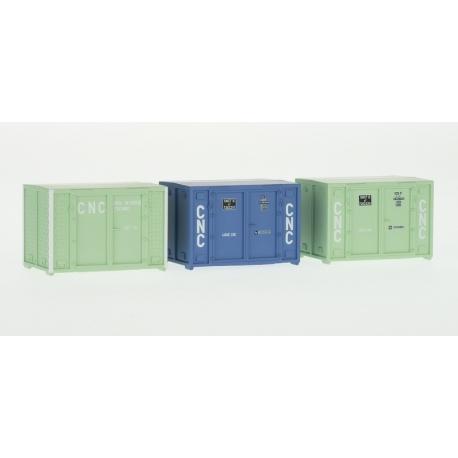 SET de 3 containers CADRE 72 (1 bleu et 2 verts CNC)
