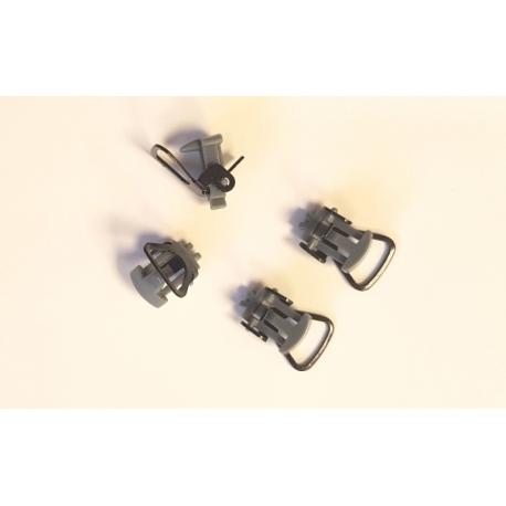 XB97104 - Attelages courts à boucle NEM 363 (Queue d'Aronde) x 4 pièces - gris