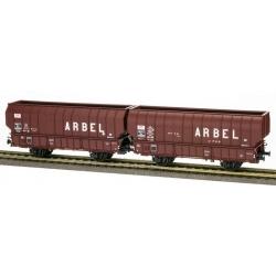 """SET de 2 Wagons ARBEL 1956, Boite à Tampon, caisse ronde """"ARBEL UPWS"""" et caisse pans coupés """"ARBEL"""" Marron châssis noir"""
