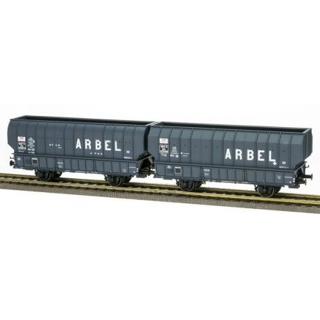 """SET de 2 Wagons ARBEL 1956, Boite à Tampon, caisse ronde """"ARBEL UPWS"""" et caisse pans coupés """"ARBEL TRANORD"""" Gris châsis noir"""