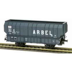 """Wagon ARBEL 1956, Boite à Tampon, caisse pans coupés """"ARBEL"""" Gris châssis noir"""