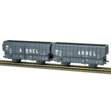 """SET de 2 Wagons ARBEL 1956, Boite à Rouleau, caisse ronde """"ARBEL UPWS"""" et caisse pans coupés """"ARBEL TRANORD"""" Gris"""