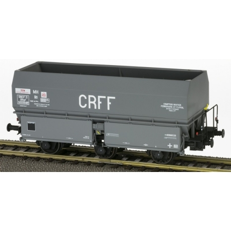"Wagon MH45 Roue Léonard, 3 essieux "" CRFF"" Gris châssis noir"
