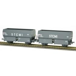 """SET de 2 Wagons Ex-MH45 2 essieux """"STEMI"""" Gris"""