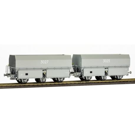 """SET de 2 Wagons MH45 3 essieux """"HBL"""" Gris"""