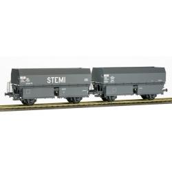 """SET de 2 Wagons Ex-MH45 2 essieux """"STEMI"""" et """"SGMF"""" Gris"""