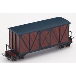 Grand wagon couvert à bogies marron