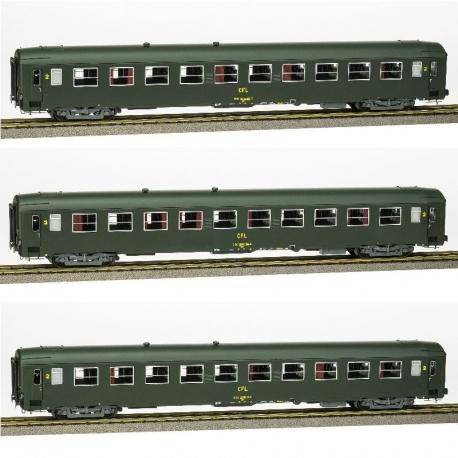 COFFRET 3 UIC (3 x B10) Vert Celtique 301 - châssis gris - Ep.IV - CFL