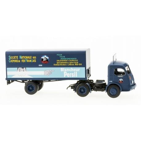 """Camion PANHARD Movic """"SCETA"""" bleu avec Publicité - Remorque """"BLANCHEUR PERSIL"""" Logo SNCF Rond"""