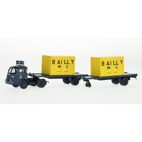 """Camion PANHARD Movic """"STA"""" Bleu avec publicité + 2 remorques """"plateau"""" + 2 containers """"BAILLY"""""""