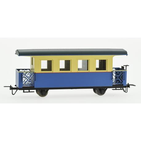 Voiture passagers bleue et beige