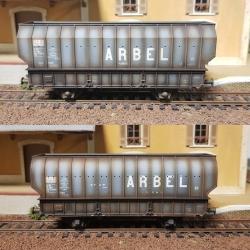 """SET de 2 Wagons ARBEL 1956, Boite à Rouleau, caisse ronde """"UPWS"""" et caisse pans coupés """"TRANORD"""" Gris, patinés"""