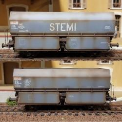 """SET de 2 Wagons patinés Ex-MH45 2 essieux """"STEMI"""" et """"SGMF"""" Gris"""