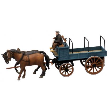 Charrette de fermier à deux chevaux