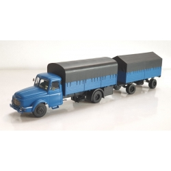 CB106 - Camion Willeme Bleu Bâché + remorque bâchée