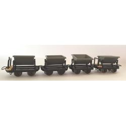 Set de 4 wagonnets bennes (2 avec et 2 sans freins)