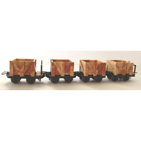Set de 4 wagonnets tombereaux (2 avec et 2 sans freins)