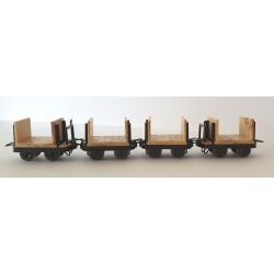 Set de 4 wagonnets à pâte à bois (2 avec et 2 sans freins)