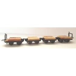 Set de 4 wagonnets plat (2 avec et 2 sans freins)