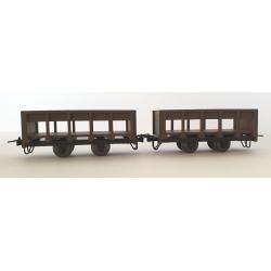 Wagon en Bois transport de sucre de canne (x 2 pièces)
