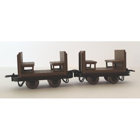 Petit wagon en bois pour passagers (x 2 pièces)