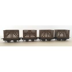 Petit wagon en bois (x 4 pièces)