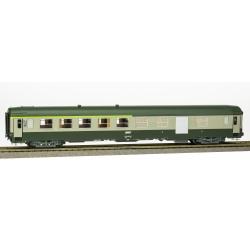 VOITURE UIC B5D Vert garrigue-Gris béton, Logo encadré, Cartouche Corail, Porte ancienne grande fenêtre, Ep.IV-V