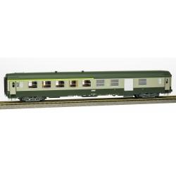 VOITURE UIC B5D Vert garrigue-Gris béton, Logo encadré, Cartouche Corail, Porte moderne petite fenêtre, Ep.IV-V