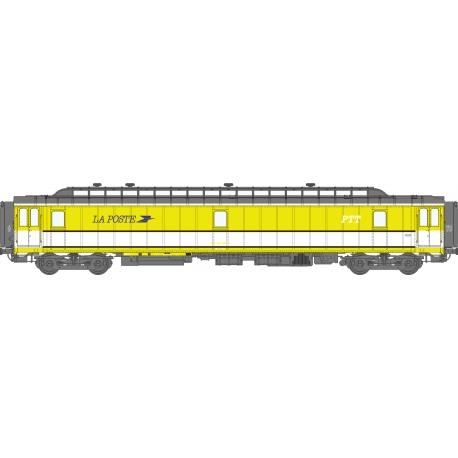 POSTALE AMB 21,6 m Ep.IV - PAZ jaune et bande blanche, toit gris, Bogie Y24 Patinée