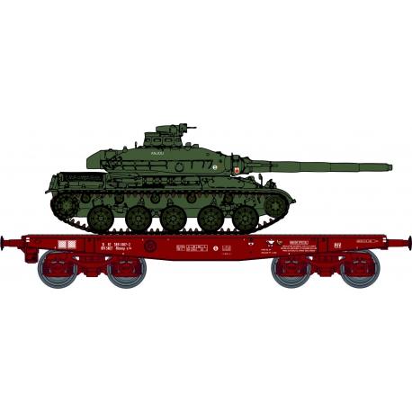 """Porte-char Rlmmp 31 87 389 1 087-2 Ep.IV brun, bogie Y27 + Char AMX 30B - 1DB / 6ème Dragon 1er Esc """"ANJOU"""" N°112"""""""