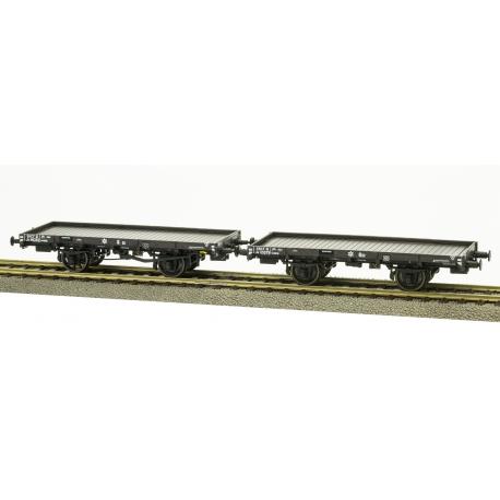 Set 2 wagons PLAT PLM Ep.III, freinés, boites PLM, roues à rayons roues pleines n°Jo115079 SNCF, n°Jo116352 SNCF